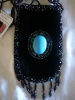 Black smart phone holder w/ turquoise stone